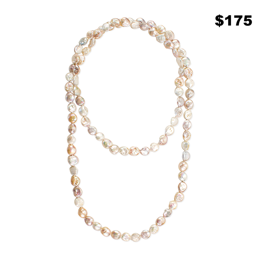 Set Of 2 Long Coin Pearl Necklaces