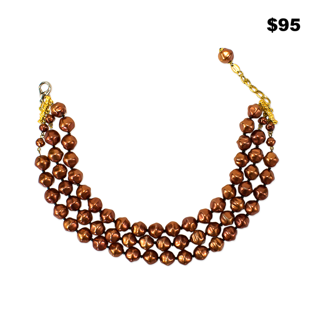 Copper Faux Pearl Necklace