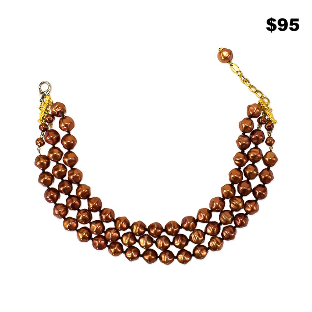 Copper Pearl Necklace - $95