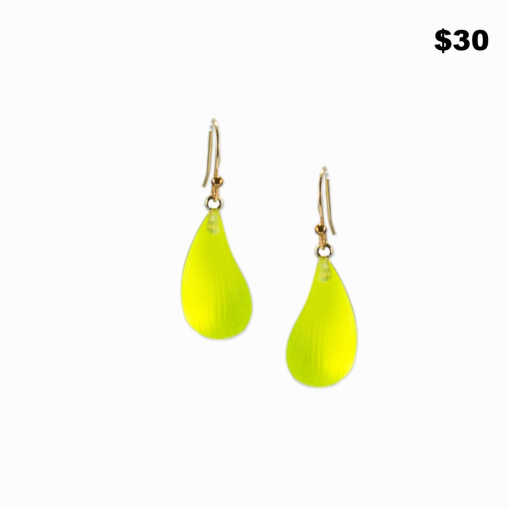 Green Lucite Bubble Earrings - $30