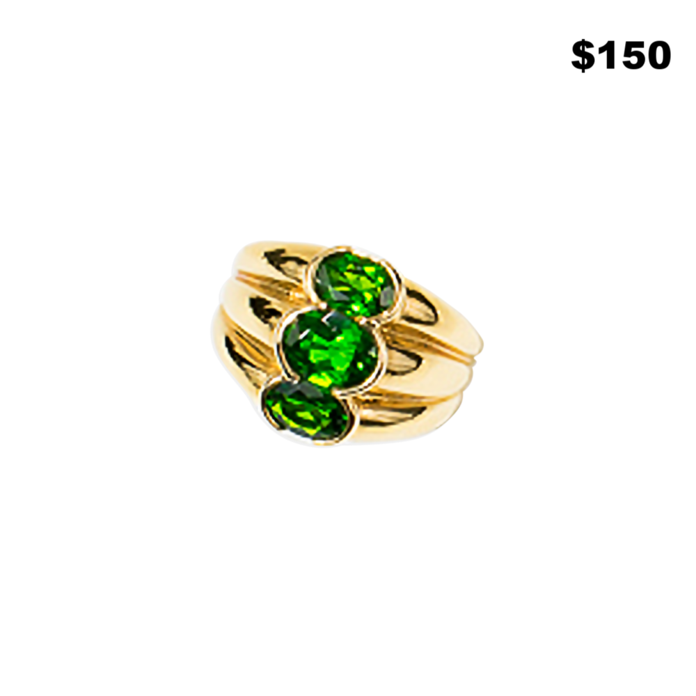 Vermiel & Green 3 Stone Ring - $150