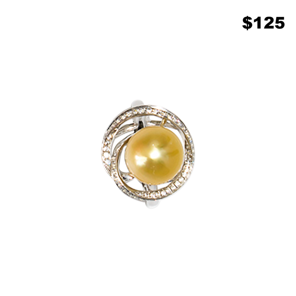 Sterling Pearl and CZ Ring - $125
