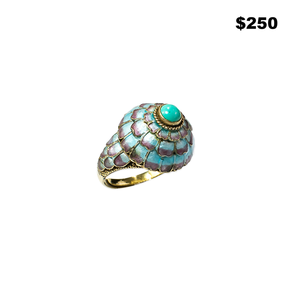 Turquoise Cloisonne & Sterling Ring