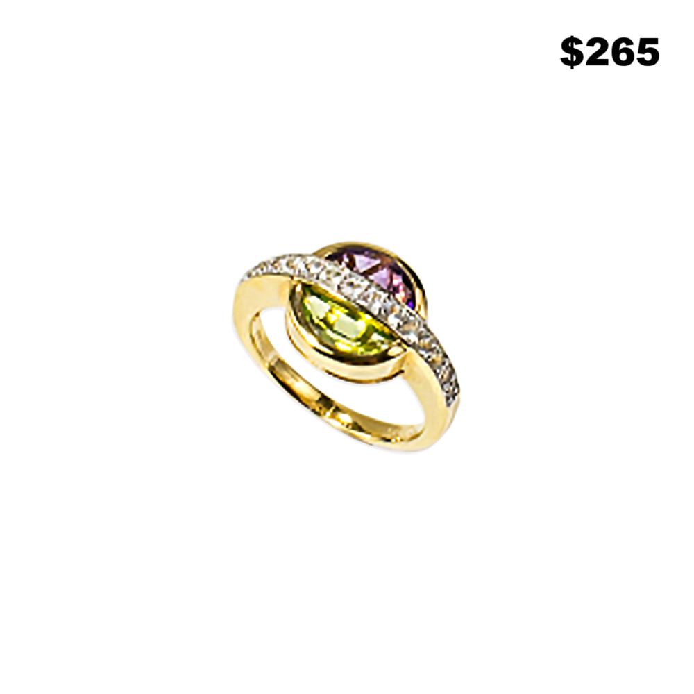 Peridot Geometric Ring - $265