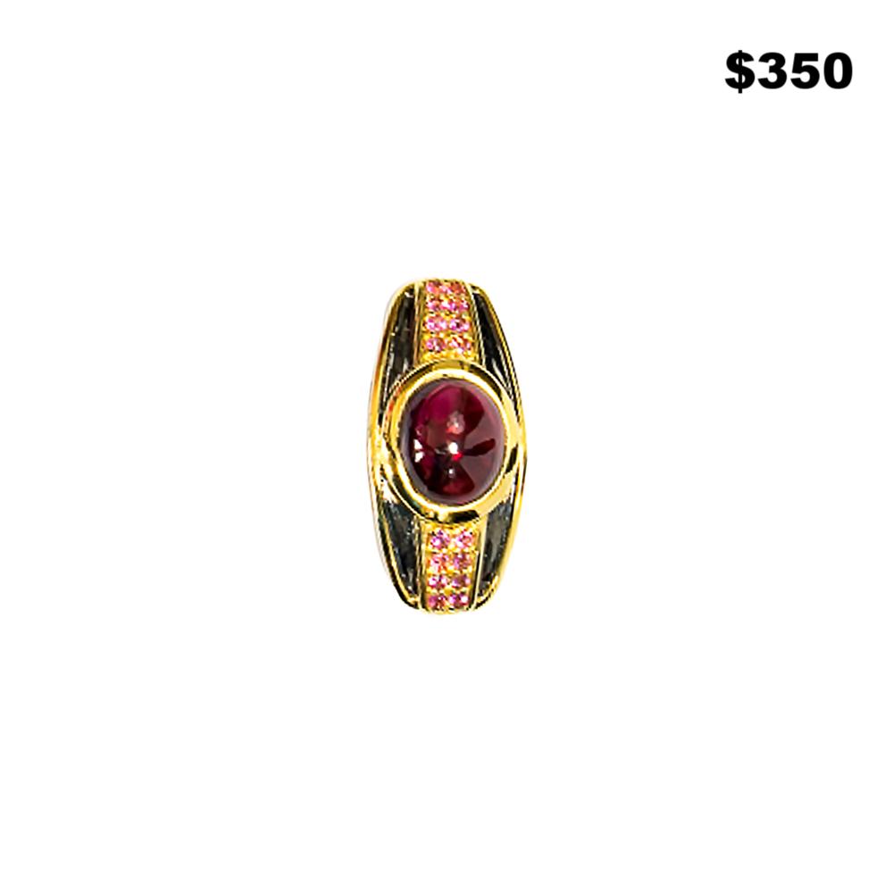 Garnet Geometric Ring - $350