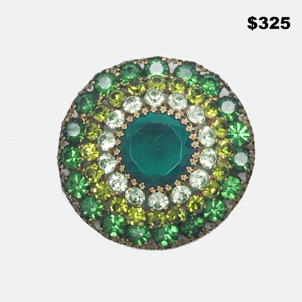 Weiss Green Rhinestone Pin