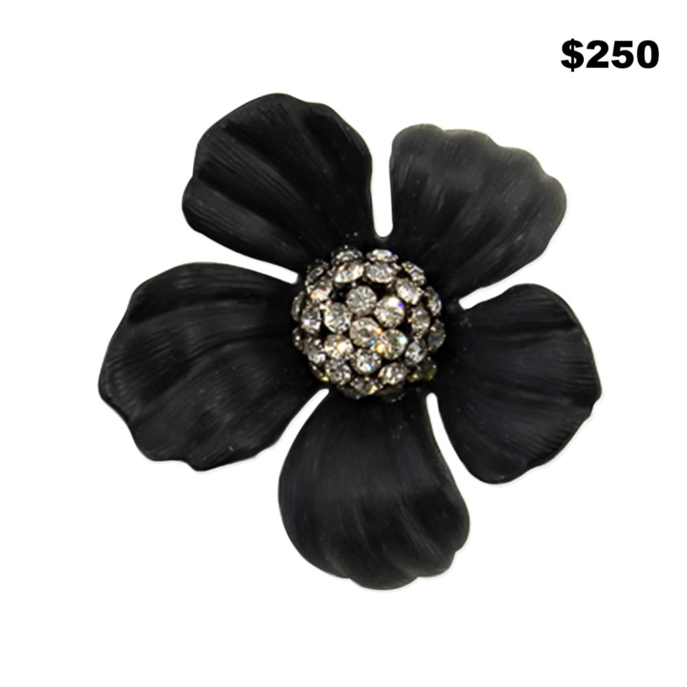 Large Black Floral Pin - $250