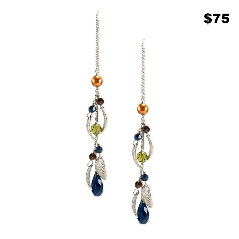 Silver Leaf Thread Earring - $75