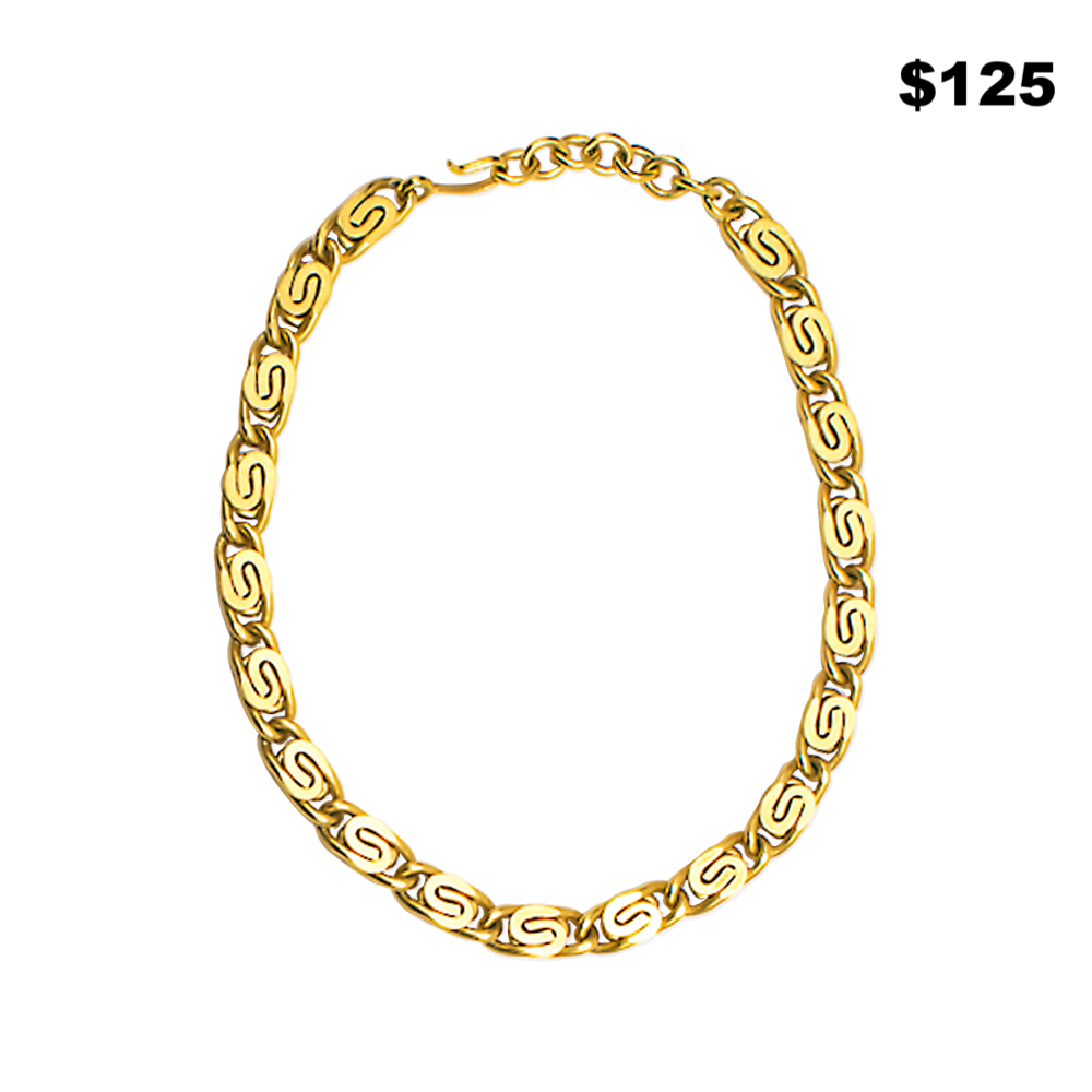 Gold Scroll Necklace - $125