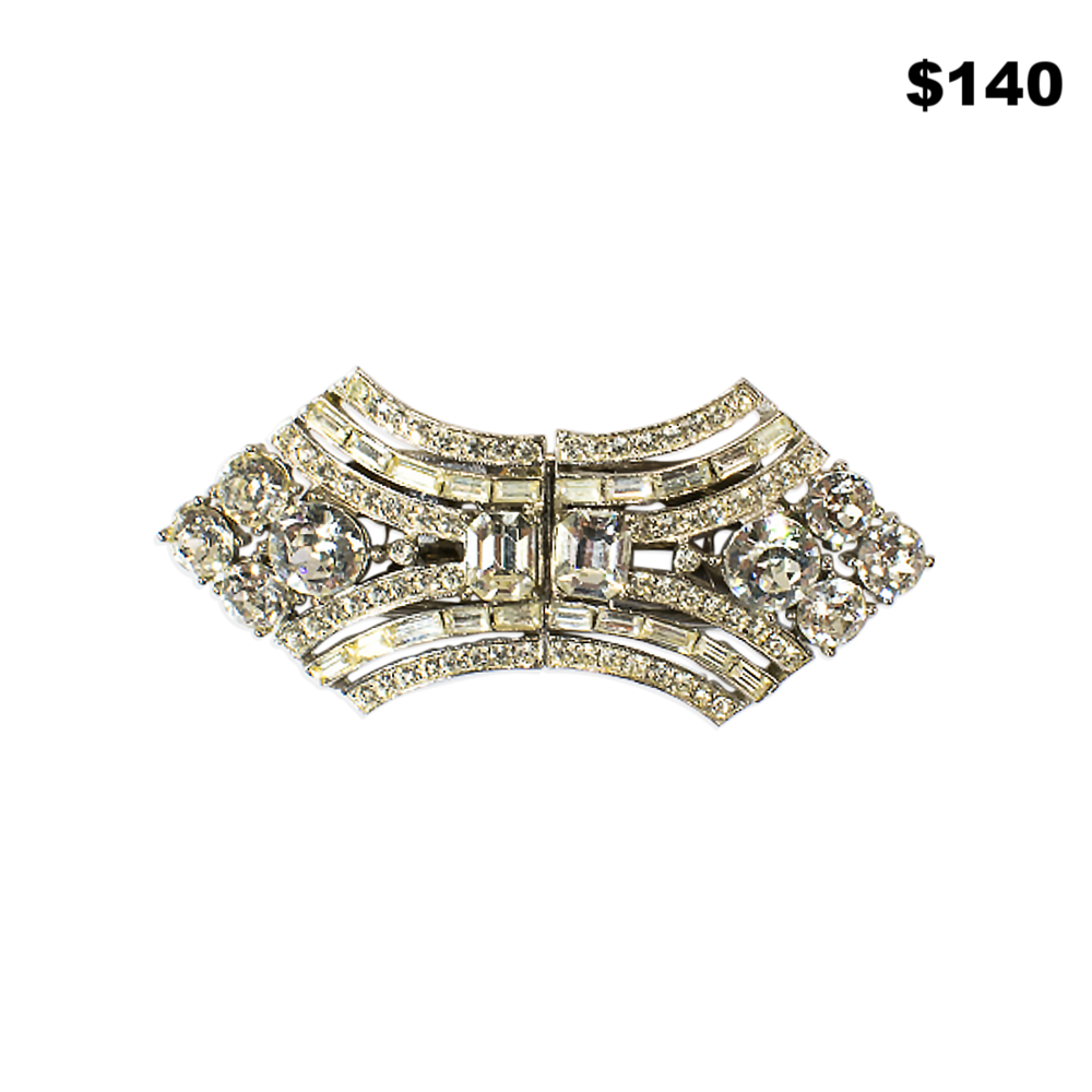 Art Deco Rhinestone Pin - $140