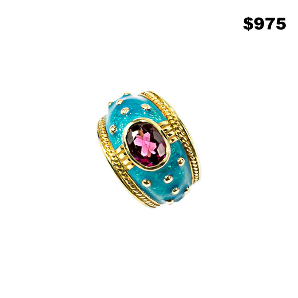 Rubelite & Turquoise Enamel Ring - $975