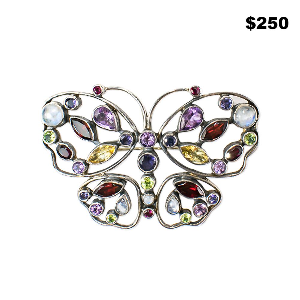 Semiprecious Butterfly Pin - $250