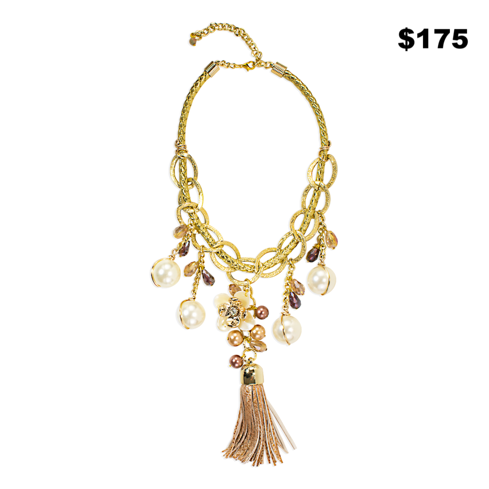 Gold and Pearl Tassel Necklace - $175