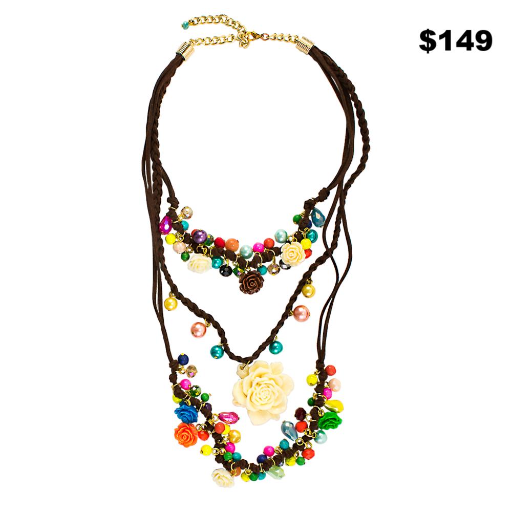 Multi Color Ivory Rose Lariat - $149
