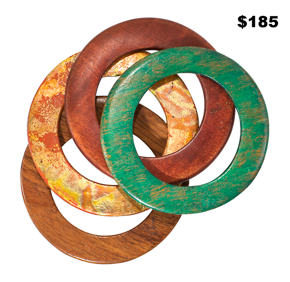 Thin Wooden Bangle Set
