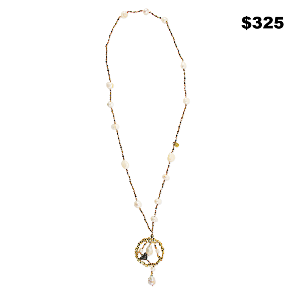 Pearl With Gold Cecklace - $325