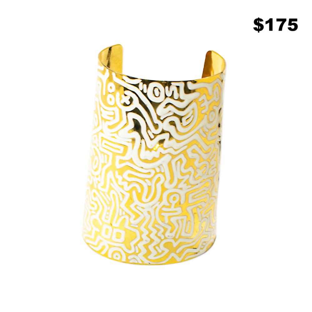 Gold & White Maze Cuff - $175