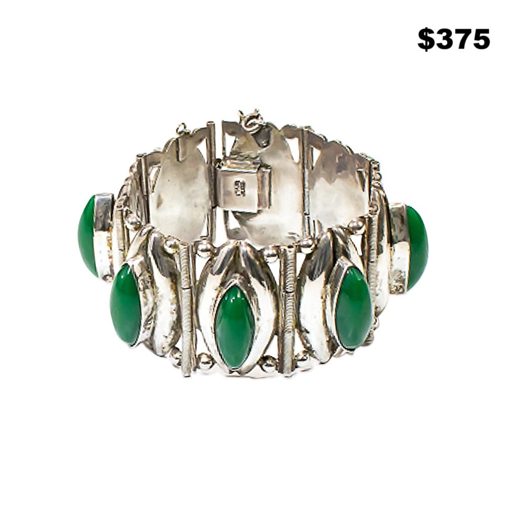 Silver & Malachite Bracelet - $375