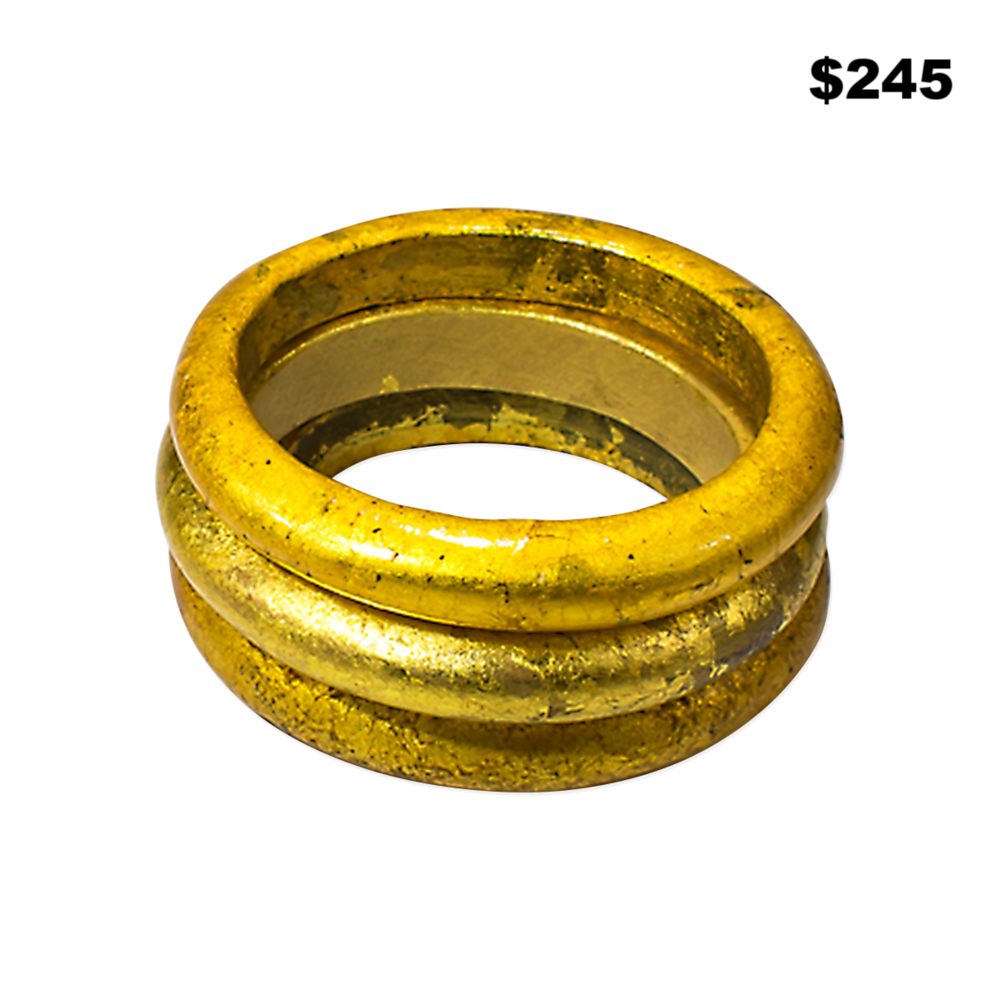 Gold Wooden Bangle Set