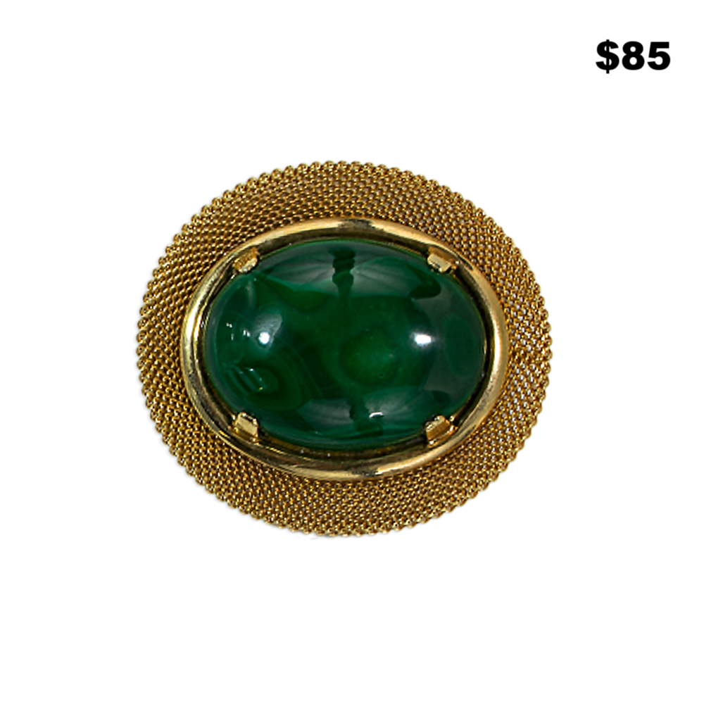 Green Malachite Pin - $85