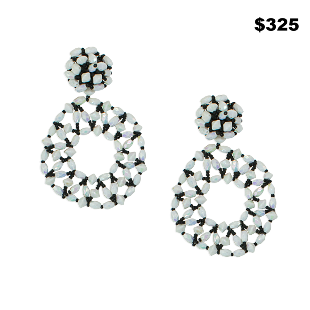 Sparkling White/Black Beaded Earrings