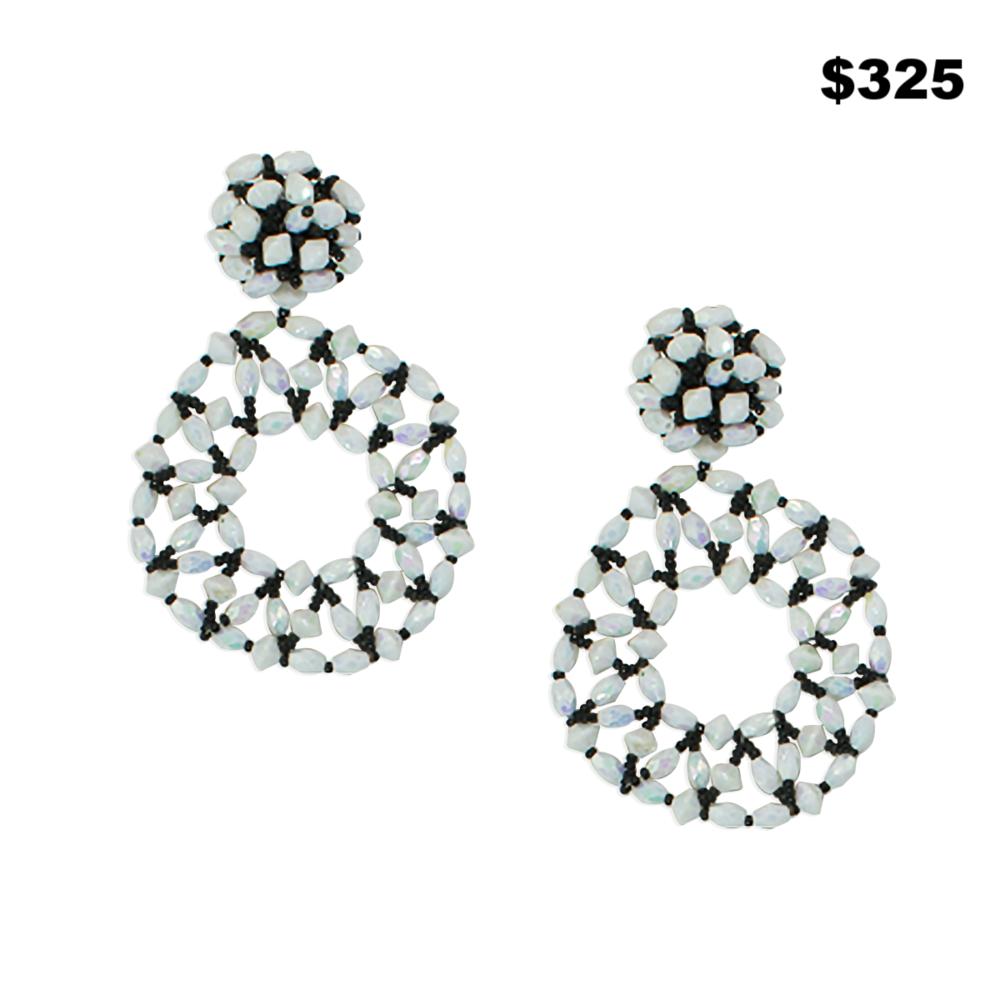 Iridescent White Bead Earrings - $325