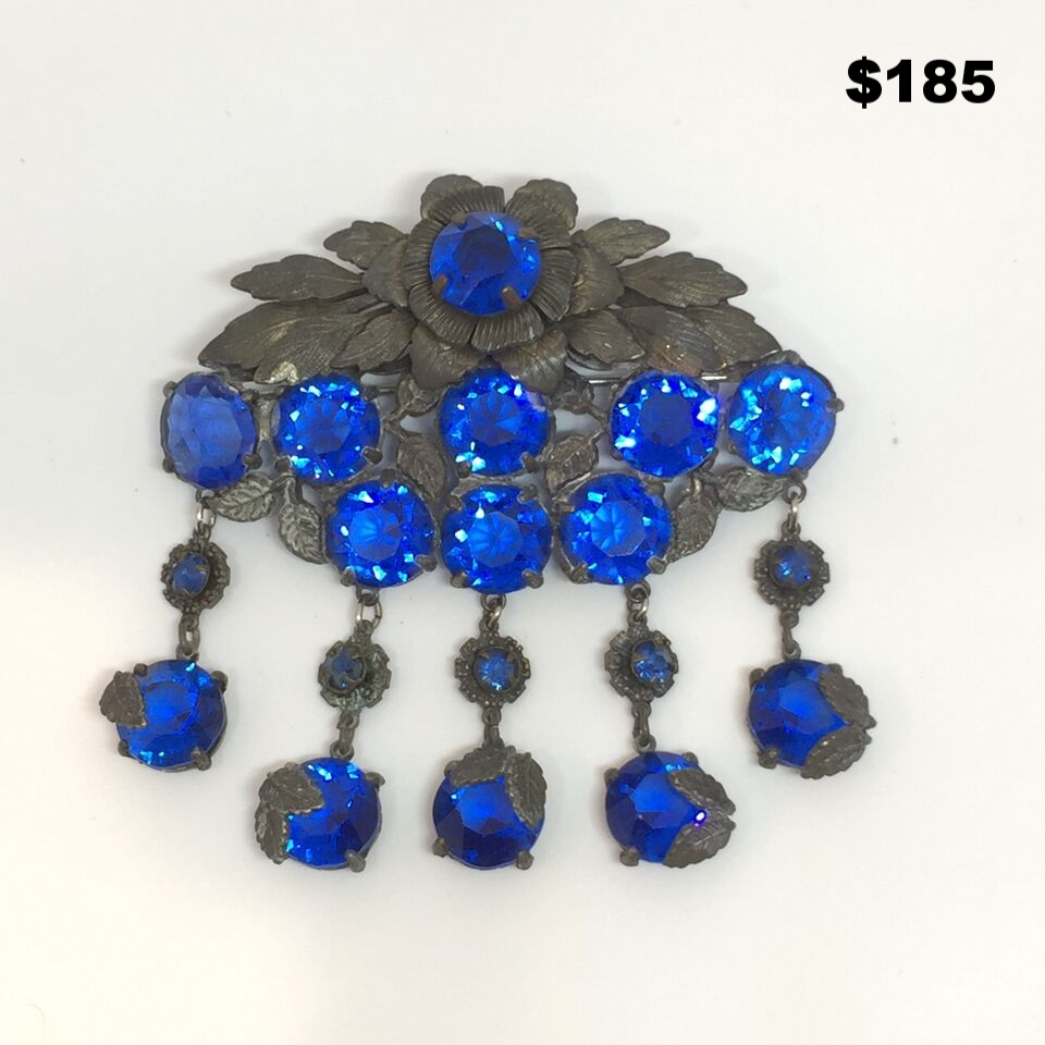 Blue Crystal Pin - $185