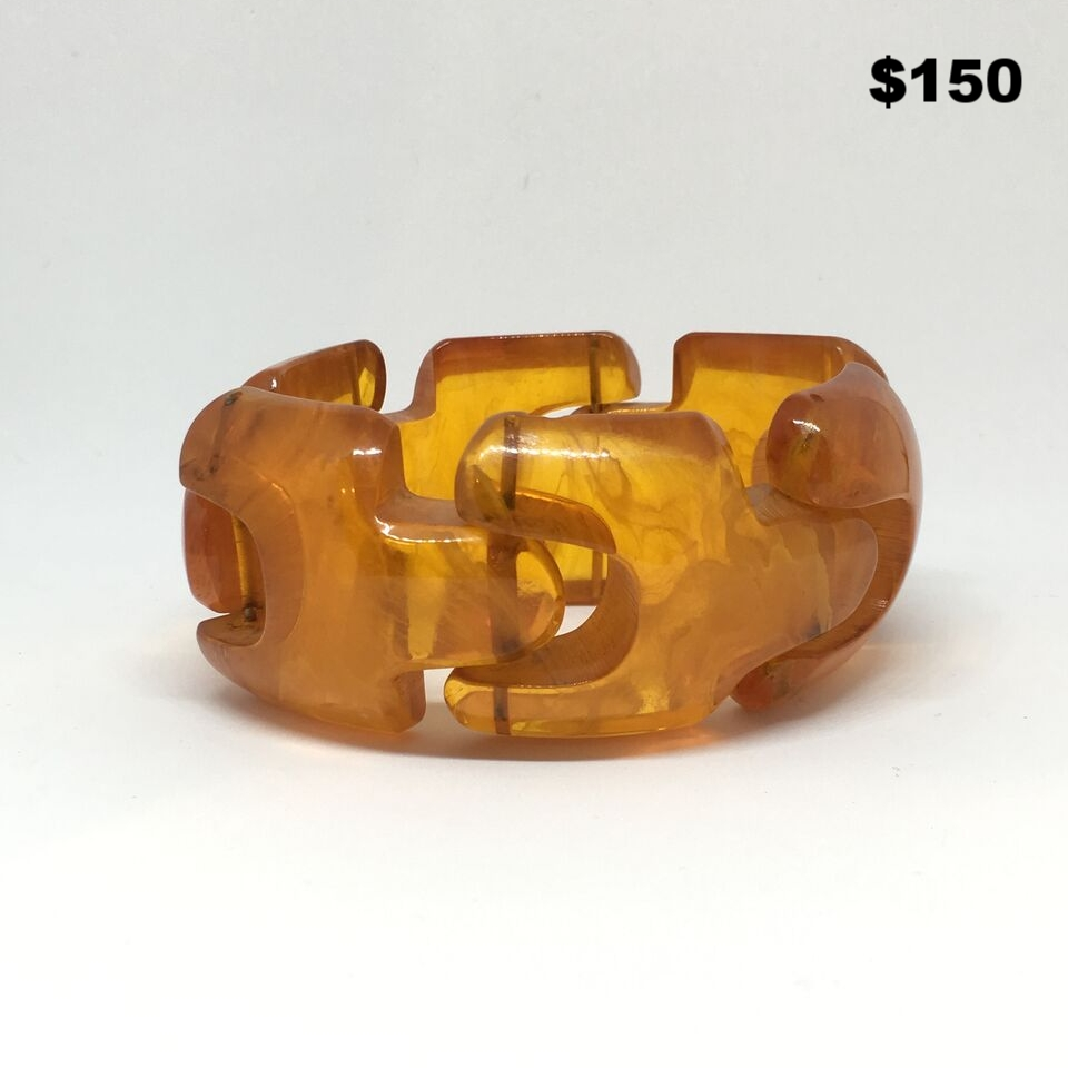 Orange Resin Link Bracelet