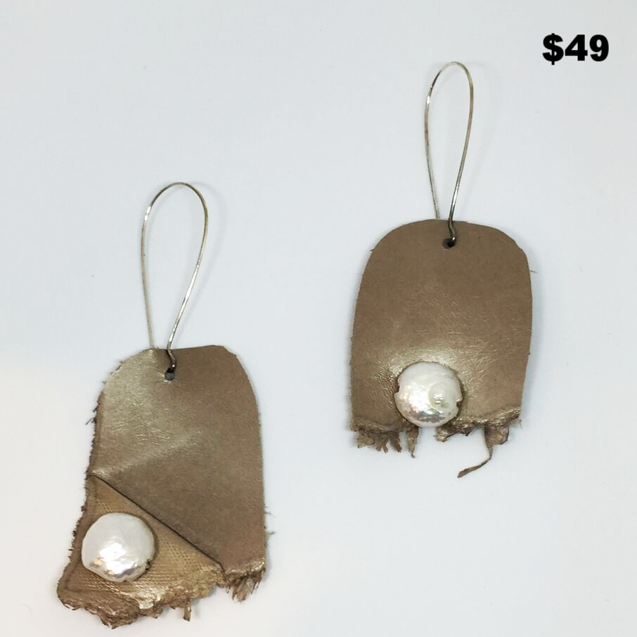 Pearl & Leather Earring - $49