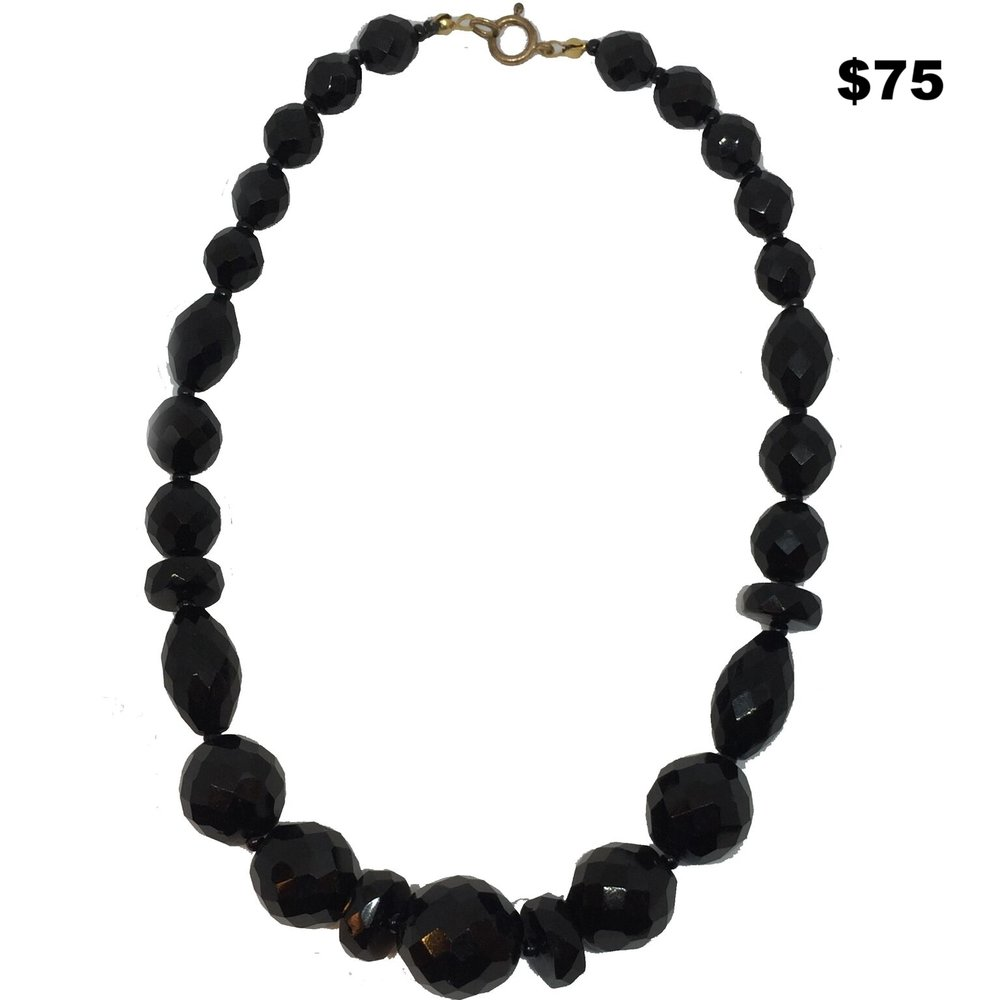Jet Beaded Necklace - $75