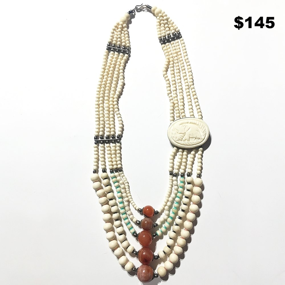 70's Bone & Stone Necklace