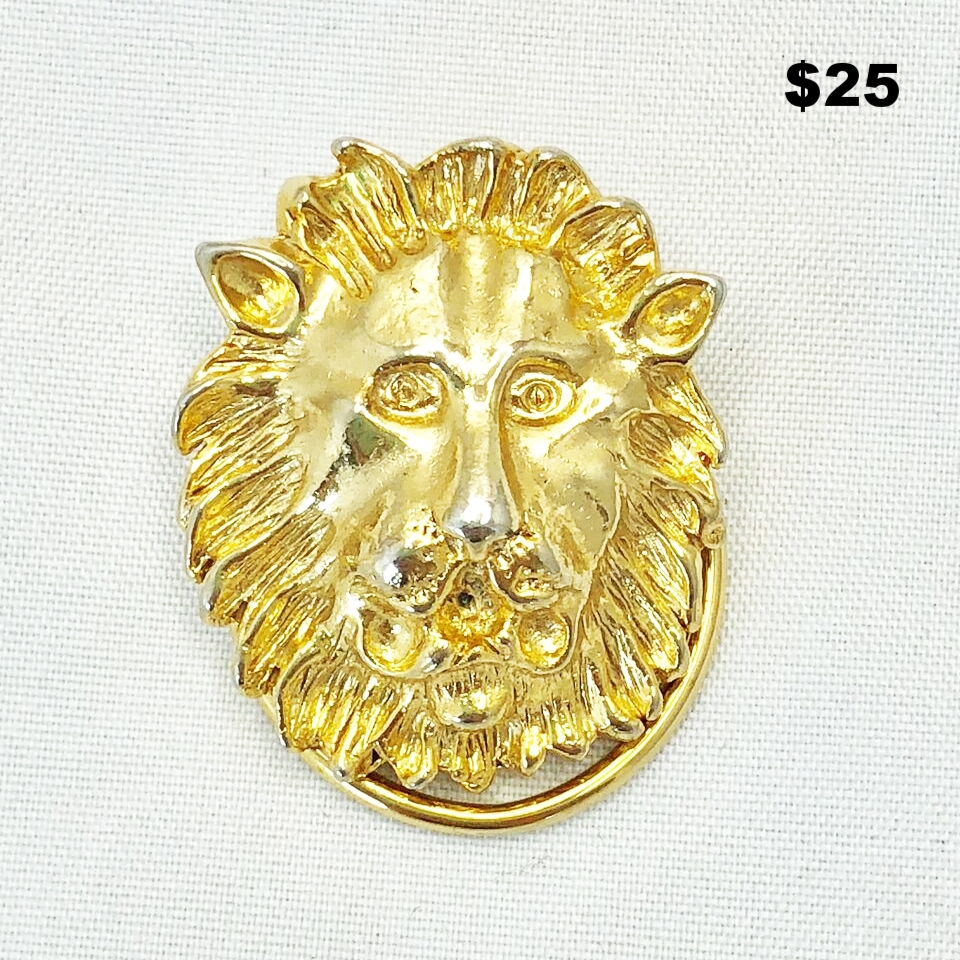Gold Plated Lion Scarf Pin - $25