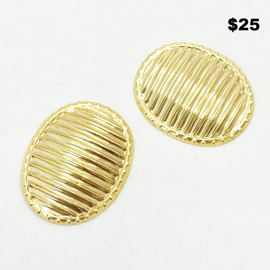 Gold Ribbed Shoe/Dress Clips