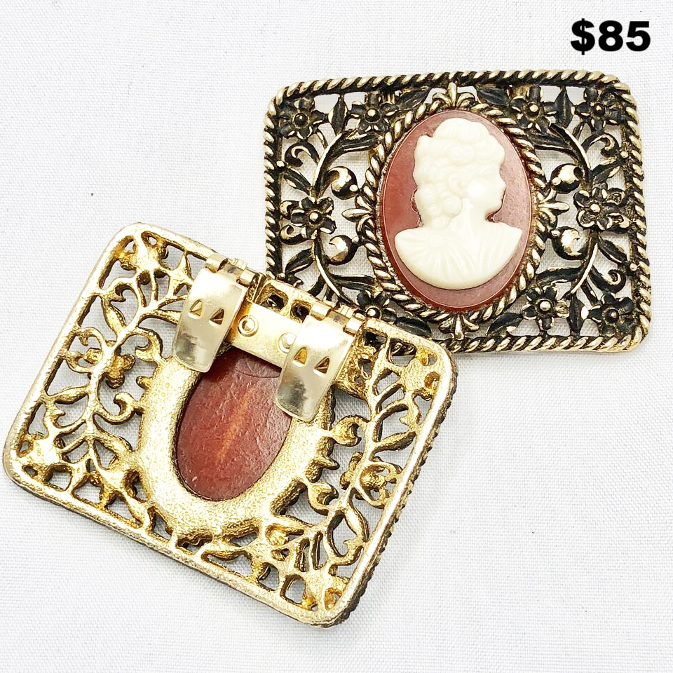 Antique Cameo Shoe Clips