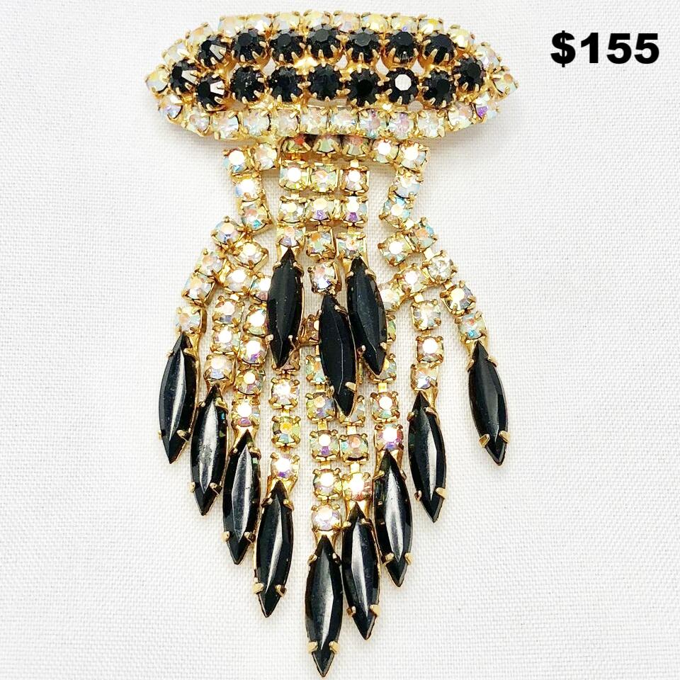 Black & Clear Crystal Drop Pin - $155