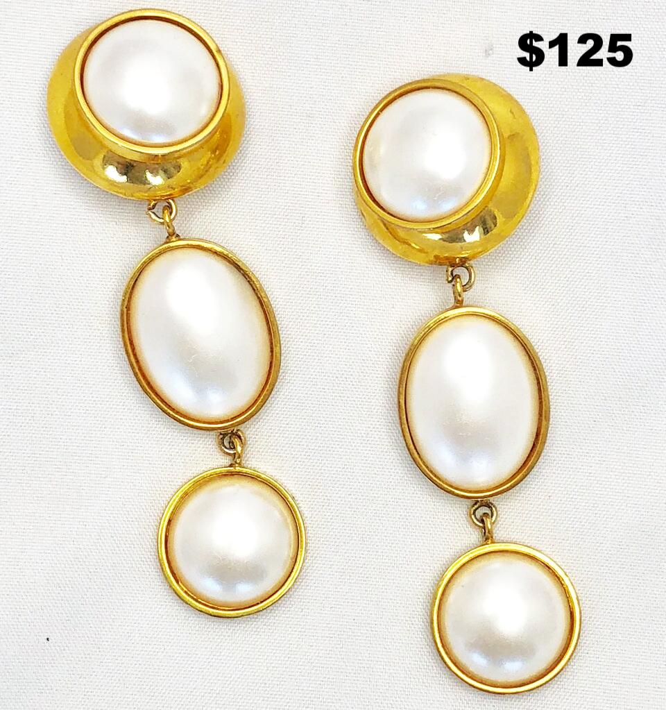 Gold & Pearl Drop Earring - $125