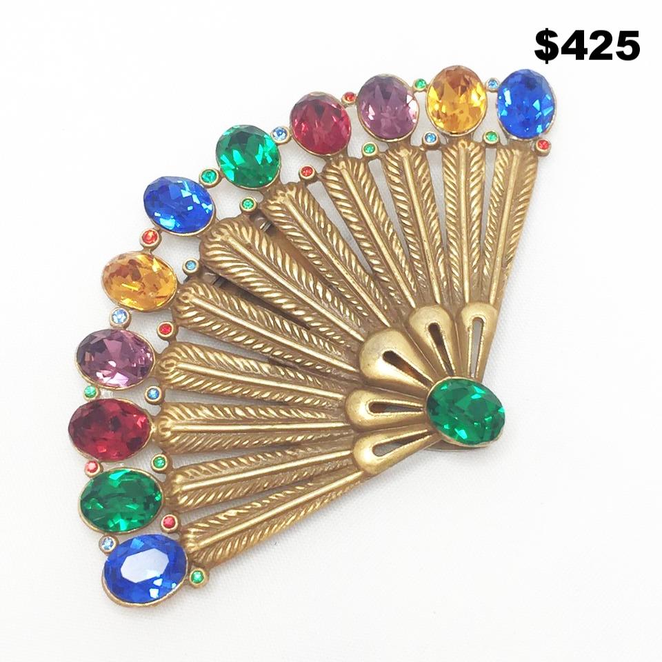 1930s Art Deco Fan Dress Clip - $425