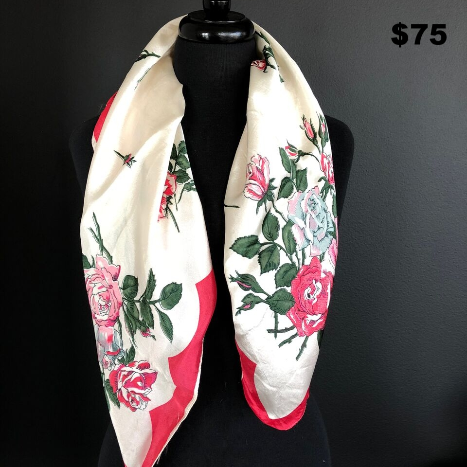 Pink and White Floral Scarf - $75