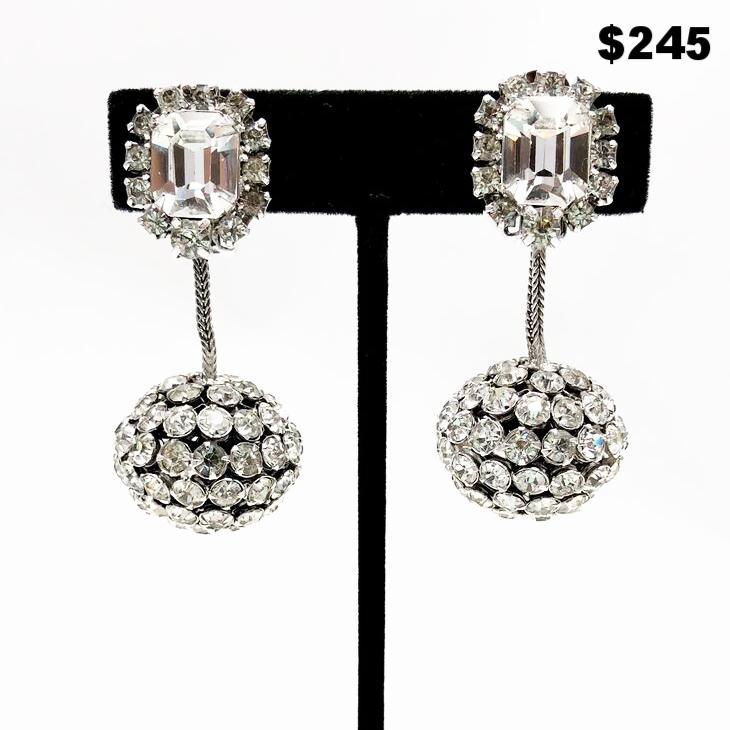 Runway Rhinestone Earrings - $245