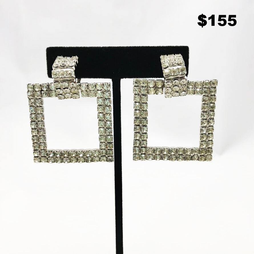 Rhinestone Square Earrings
