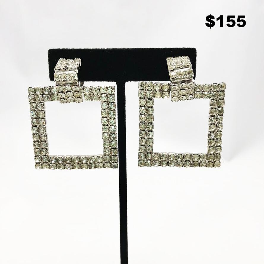 Rhinestone Square Earrings- $155
