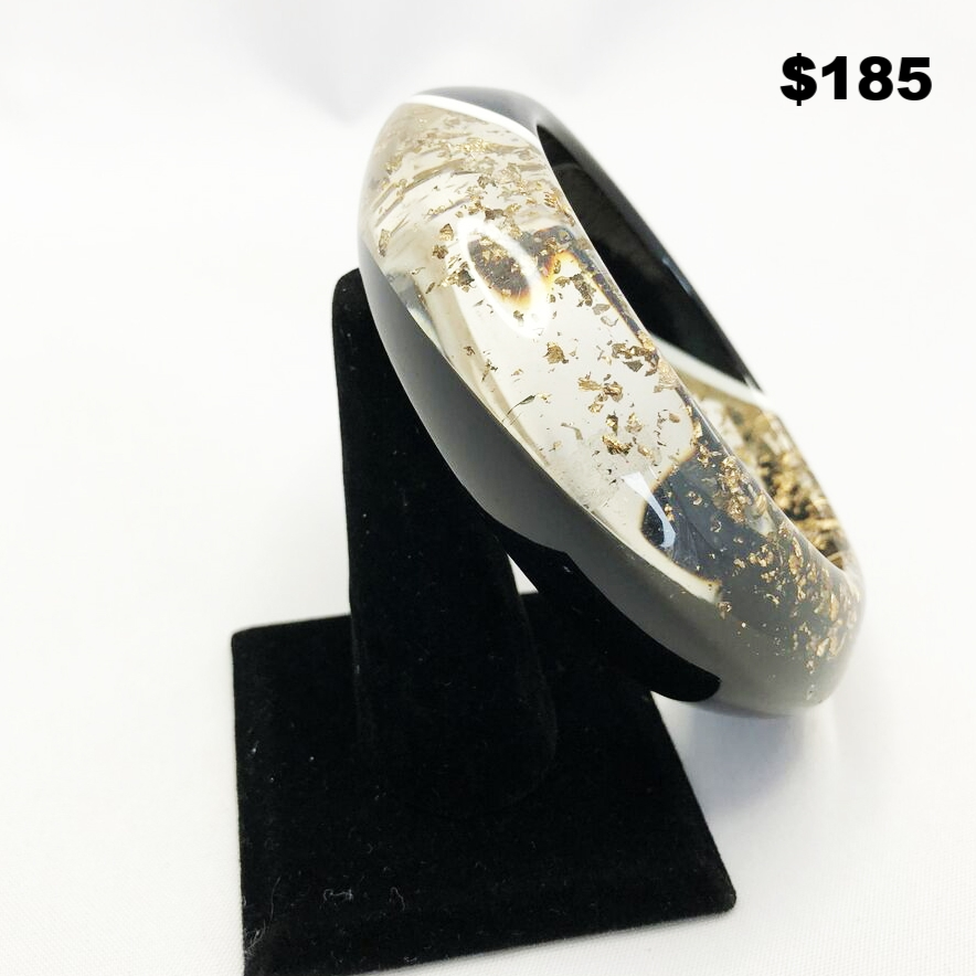 80s Clear Gold Lucite Bangle - $185