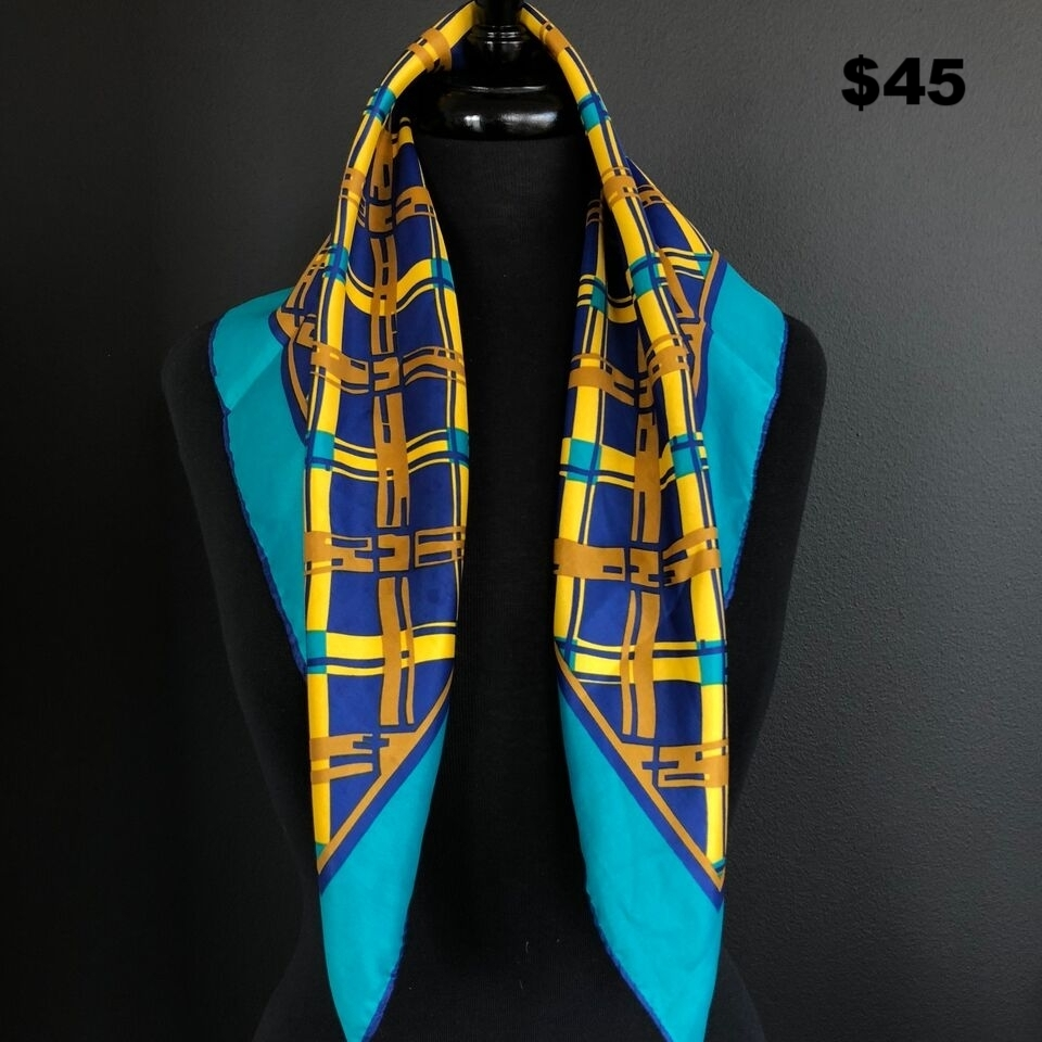 Blue, Gold, & Yellow Silk Scarf