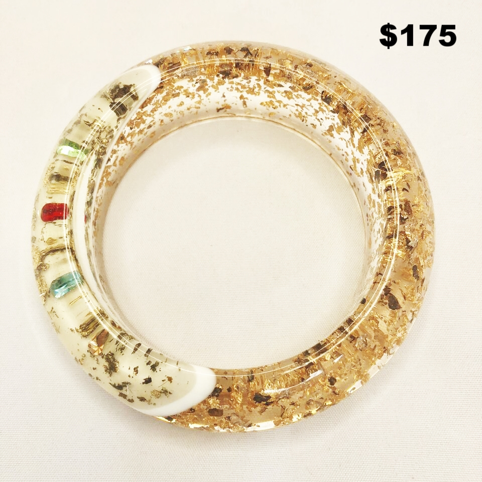 Clear & Gold Lucite Bangle - $175