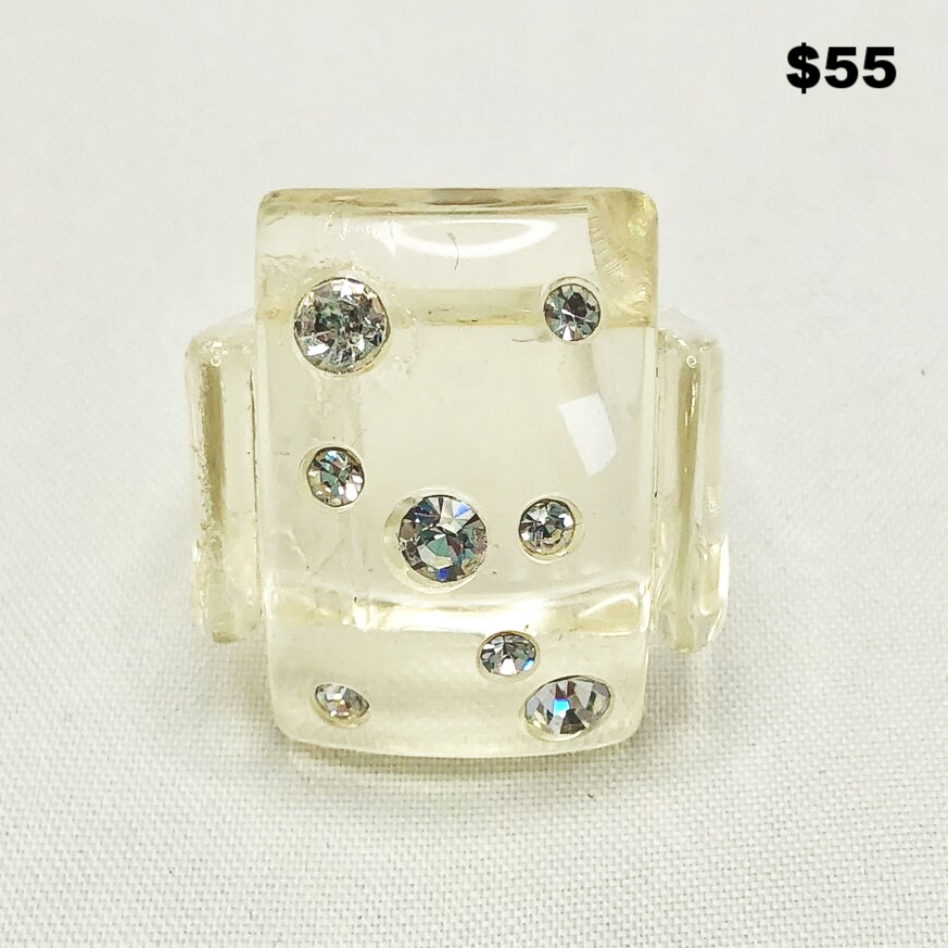 Lucite Ring With Crystals
