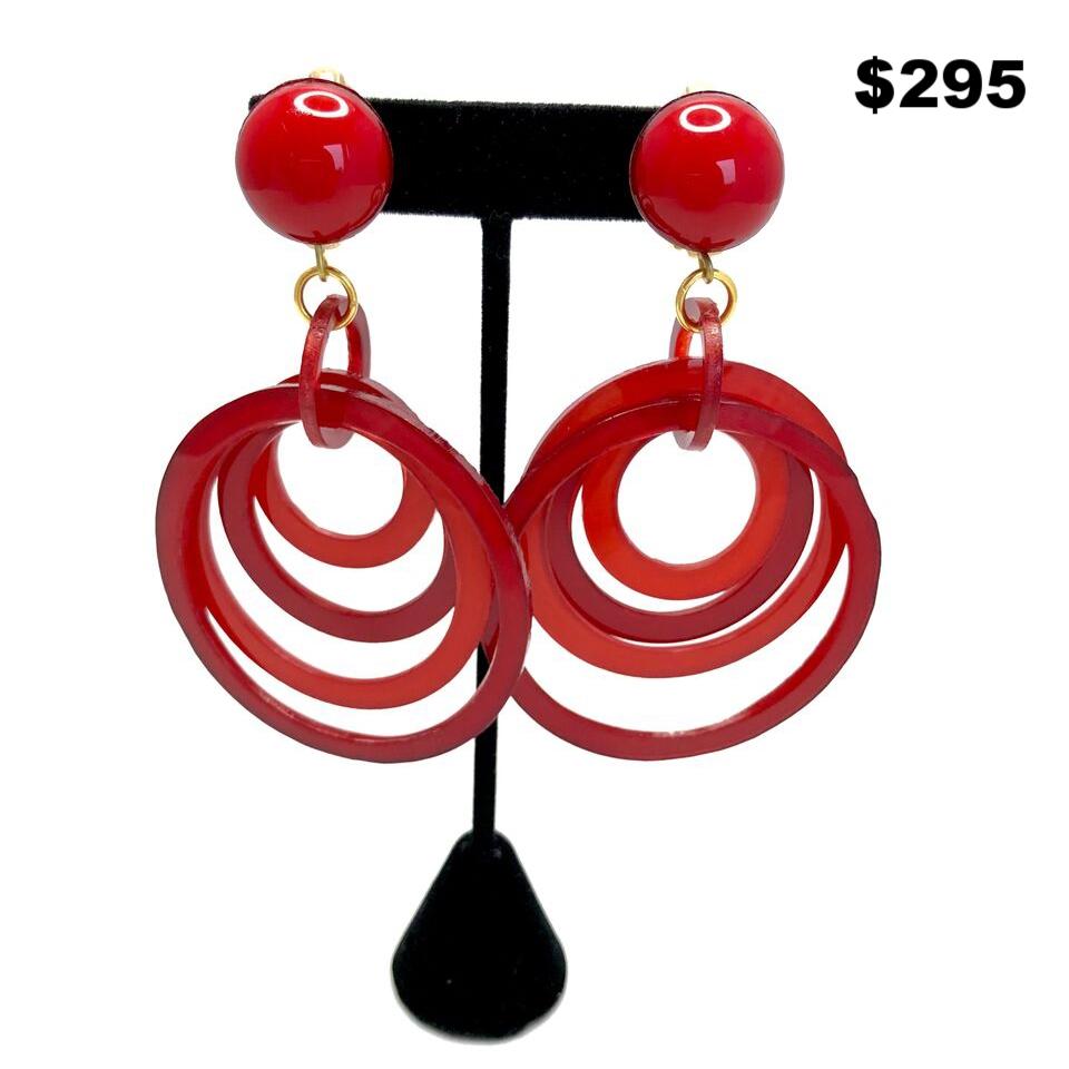 Hoop Lucite Clip On Earrings - $295