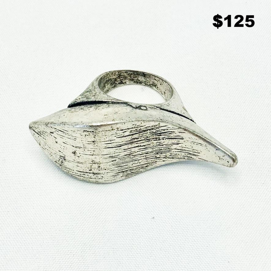 Big Wave Silver Tone Ring - $125