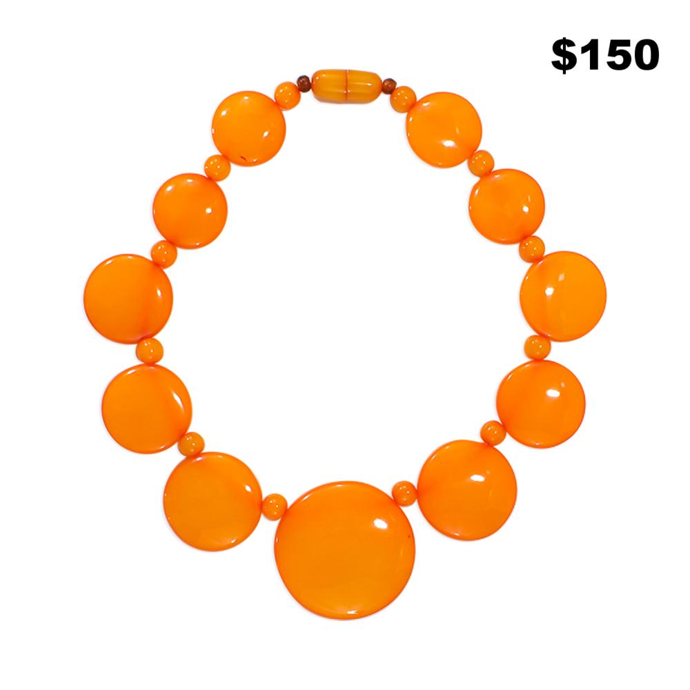 Butterscotch Circle Necklace - $150