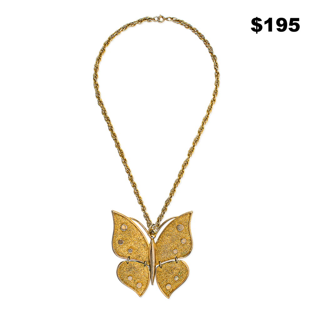 Gold Butterfly Necklace - $195