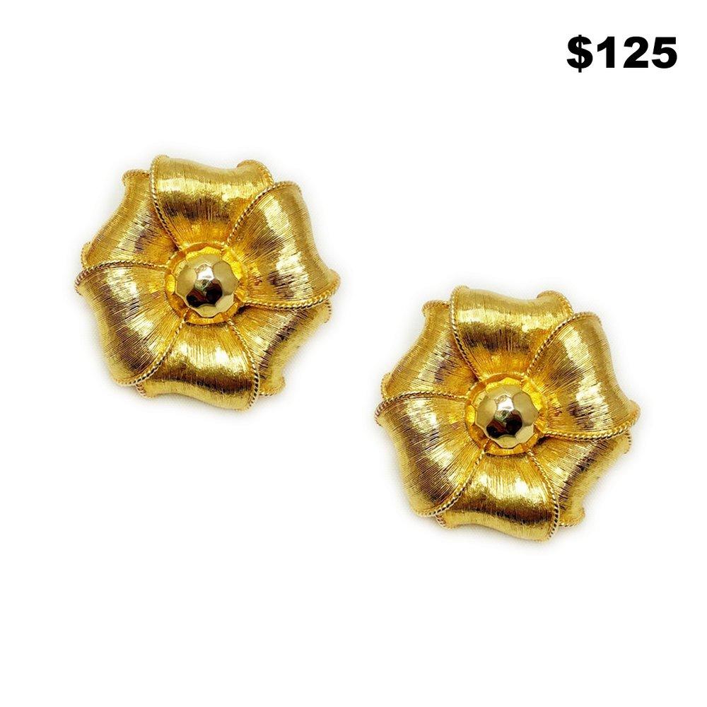Gold Flower Earrings - $125